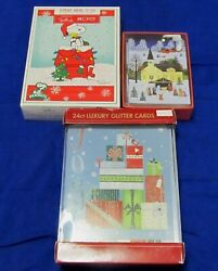 Vintage Christmas Cards 42 In Boxes Glitter Cards With Envelopes