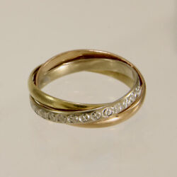 French 18k Yellow, Rose And White Gold Triple Rolling Ring Band Size 8