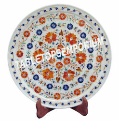 1and039x1and039 Collectible Marble Dish Plate Mosaic Multi Inlay Design Patio Decor H2764