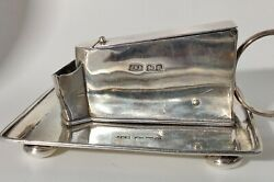 Antique Victorian Silver Table Cigar-cutter On A Tray Base Chester 1900