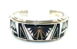 Native American Sterling Silver Navajo Black Onyx With White Opal Cuff Bracelet
