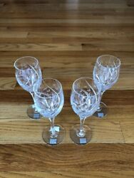 """Set Of 4 New With Tags Mikasa English Garden Crystal 9"""" Tall Water Wine Goblets"""