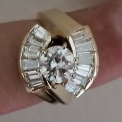 Solitaire Engagement Ring 2.50 Caratcenter 1.20 J Si/i1diamond14k White Gold