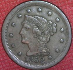 1852 Braided Hair Large Cent U.s. Coin 1c Better Grade
