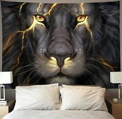 Golden Cool Lion King Painting Wall Tapestry Hippie Art Tapestry Wall Hanging