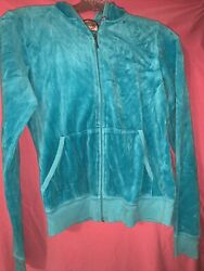 Juicy couture Turquoise Blue velour large girls hoodie sweat jacket $17.77