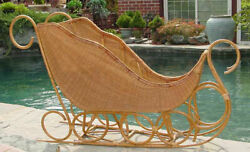Rare Vintage Christmas Display Antique Style 76x 43 Bentwood Wicker Sleigh