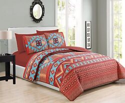 Cal-king 6 Pc Bedding Quilt Bedspread Andfitted Sheet Set Turquoise Red Orange Bro
