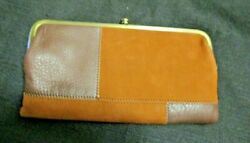 New Hobo Lauren Large Patchwork Leather Wallet Clutch Org $145 $48.00