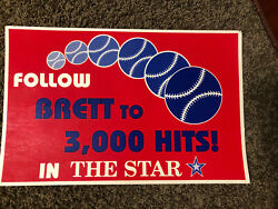 George Brett Vintage 1992 Thick Sign That Hung On Newsstand Chasing 3000th Hit