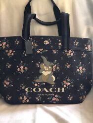 NWT Coach X Disney Tote Bag with Rose Bouquet Print and Thumper 91116 $175.00