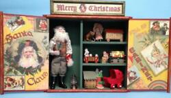 Jean Nordquist's Victorian Santa Claus Cabinet W/7 Die Cut Toys And Wooden Cabinet