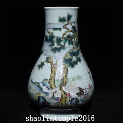 Rare China The Qing Dynasty Pastel Pine Crane Pattern Big Belly Bottle