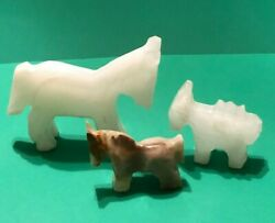 Vintage Mexican Hand Carved Quartz Animals Horse Donkey Lot Of 3 Adorable Trio