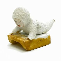 Rare Antique Snowbaby Laying Riding Sled Snowbabies Germany Pre Ww2