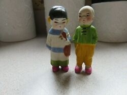 Vintage Bisque Frozen Charlotte Penny Dolls 2 Asian Oriental Boy amp; Girl Japan