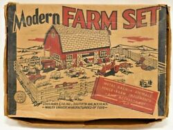 Vintage 1951 Marx Modern Farm Playset W/ Original Box Barn Animals Tractor Fence