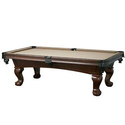 Lincoln 8' Slate Pool Table With Antique Walnut Finish For Billiards