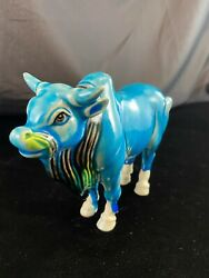Vintage Majolica Ceramic Pottery Turquoise Blue Teal Figurine Bull Cow