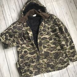 Vintage Hunting Jacket Button Front Camo Print Mens Small Medium Hooded