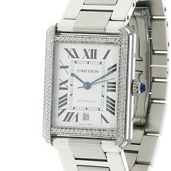 Mens Tank Solo Watch Xl Stainless Steel 31x41mm Automatic Date W/ Box