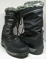 Totes Women#x27;s Black Boots Size 9M All Weather Lace Up Faux Fur Lined Winter Rain $20.99