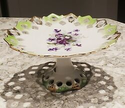 Vintage L'amour China Lefton -hand Painted-japan-small Cake Dish On Pedestal