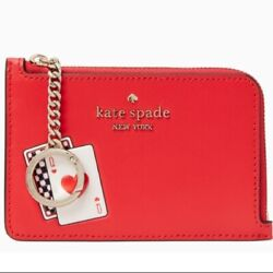 Kate Spade New York Medium I-zip Card Holder Lucky Draw Playing Cards Red New