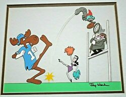 Jay Ward Signed Hand Painted Animation Cel Rocky And Bullwinkle Football