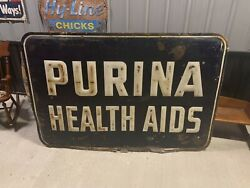 Rare Large Vintage Embossed Purina Health Aids Sign Feed Seed Farm Gas Oil