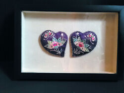 Framed Antique Chinese Purple Silk Embroidered Ear Covers Sold As Pair Framed
