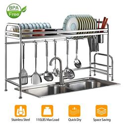 2 Tier Over The Sink Dish Drying Rack Shelf Holder Stainless Steel Organizer $32.99
