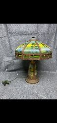 Antique Reverse Painted Lighted Base Electric Glass Panel Table Lamp