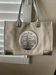 Tory Burch Tote Canvas amp; Silver Bag $105.00