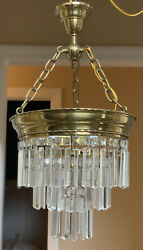 Antique Vintage Crystal Brass Wedding Cake Chandelier French Colonial Prisms