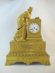 First Empire Fine French C1815 Gilt Bronze Robed Woman Goddess Reading Letter