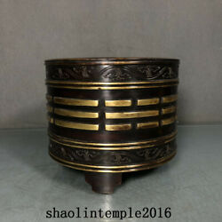China Qing Dynasty Red Copper Gilding Eight Trigrams Pattern Furnace