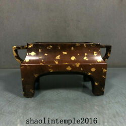Old China The Ming Dynasty Red Copper A Touch Of Gold Square Ear Furnace