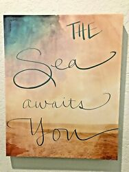 "Canvas Beach Ocean Decor 16"" X 20"" The Sea Awaits You $24.89"