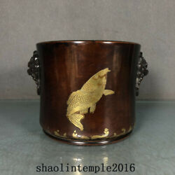4.9 China The Qing Dynasty Red Copper Gilding Fish Patterns Lion Ear Stove