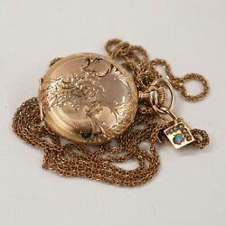Antique/vintage Elgin 14k Gold Pocket Watch, With Jeweled Chain