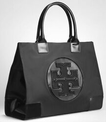 NEW Authentic Tory Burch Ella Nylon Patent Glossy Leather Tote Black LARGE $129.99