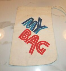 Vintage 1970and039s My Bag Drawstring Canvas Laundry Or Carry All Bag 18