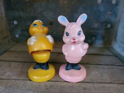 Vintage Hard Plastic Easter Bunny And Chicken Bobble Toys