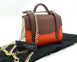 Auth 445 Nwt Strathberry Womenand039s Allegro Tricolor Calf Leather Micro Bag