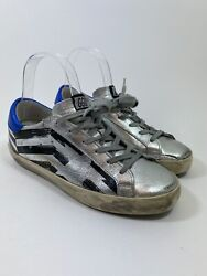Golden Goose Superstar Sneakers In Silver Flag Size 36 495