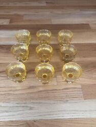 9 Tiffin Franciscan Madeira Footed Yellow Sherbet Dessert Ice Cream Dishes Bowls