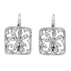 Cathy Waterman Platinum Square Shape Dragonfly Pave Diamond Lever Back Earrings