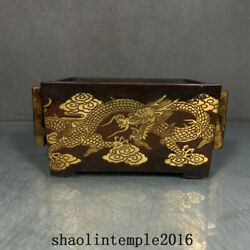 China Ming Dynasty Red Copper Gilding Dragon Pattern Rectangular Furnace