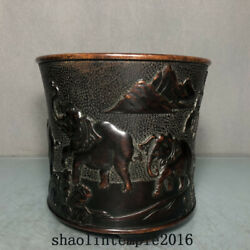 6.2 China Antique Ming Dynasty Red Copper Pictorial Pattern Pen Container